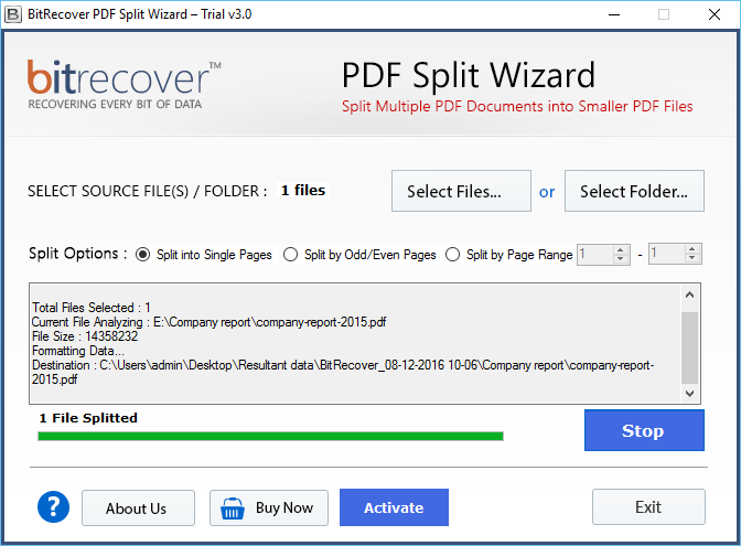 Break PDF document into separate pages