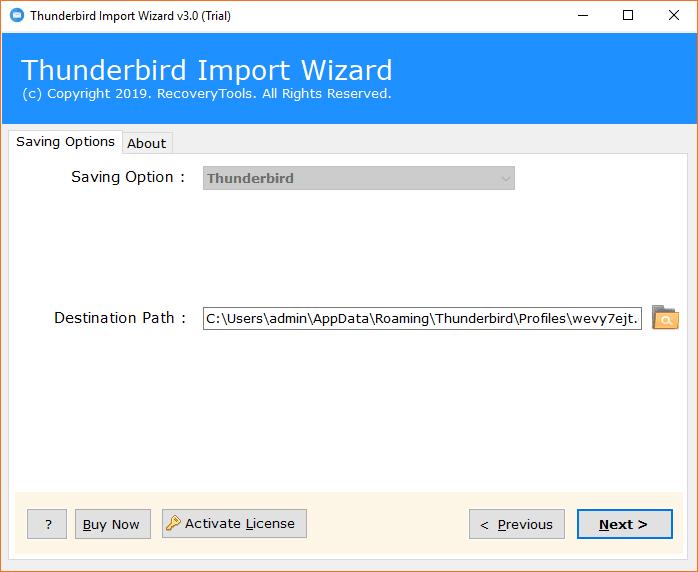 default Thunderbird profile path