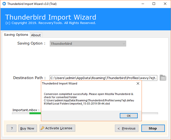 Import MBOX file is disabled in Thunderbird