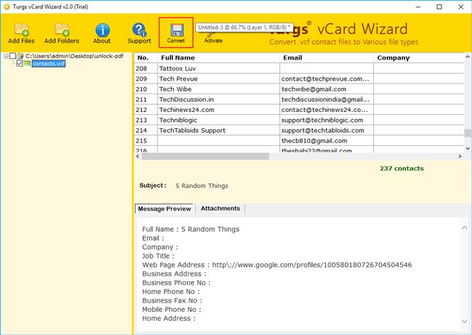 vcf to pdf converter online