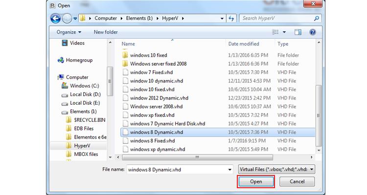 choose VHD file